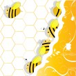 Stock Vector: Swarm of bees in honeycombs