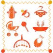 Collection of items for babies — Stock Vector