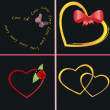 A set of golden hearts - Stock Vector
