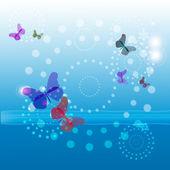 Butterflies in the sky background — Stock Vector