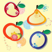 Children's label in the form of fruit — Stock Vector