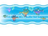 Fish swim in water — Stock Vector