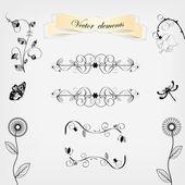 Floral design elements vector set — Stock Vector