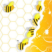 A swarm of bees in honeycombs — Stock Vector
