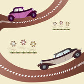 Two vintage cars on the road — Stock Vector