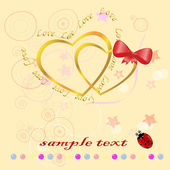 Two gold hearts — Stockvector
