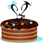 Two question marks on the cake — Stock Vector