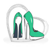 Women's shoes in the heart — Stockvector