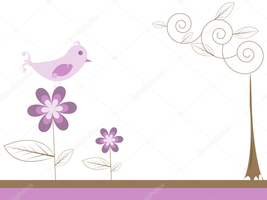 Bird on a flower — Stock Vector #9588205