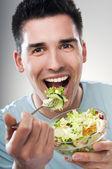 Eating salad — Stock Photo