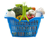 Basket with groceries — Stock Photo