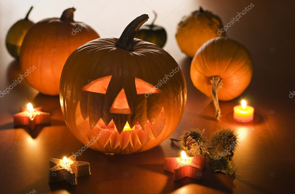 Halloween carved pumpkins indoor close up shoot  Stock Photo #9045237
