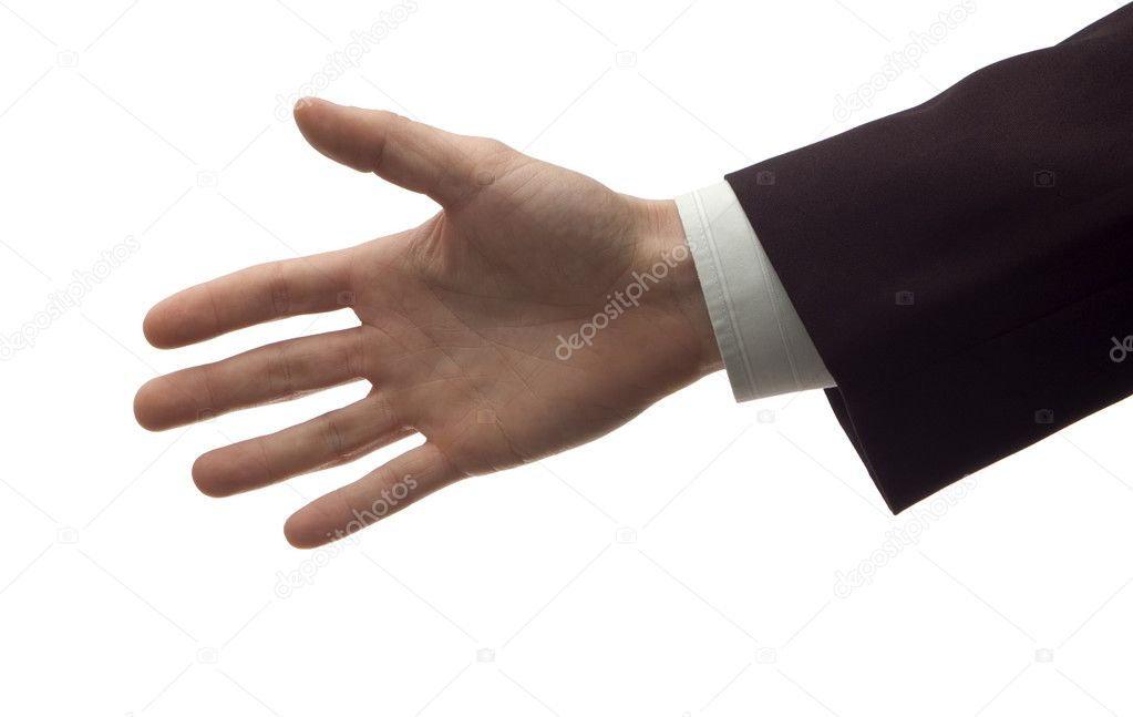 Business men handshake on white close up — Stock Photo #9062649