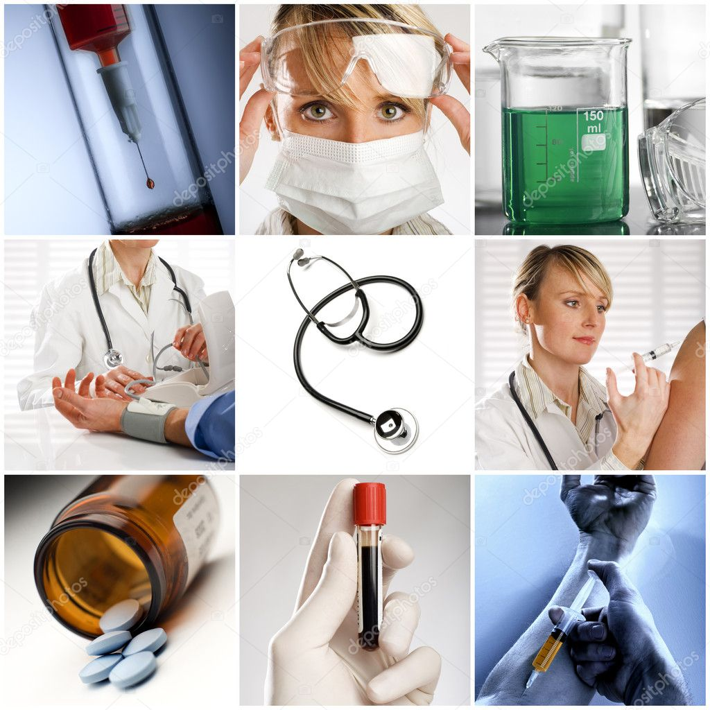 Beautiful medical collage made from nine photographs — Stock Photo #9122271