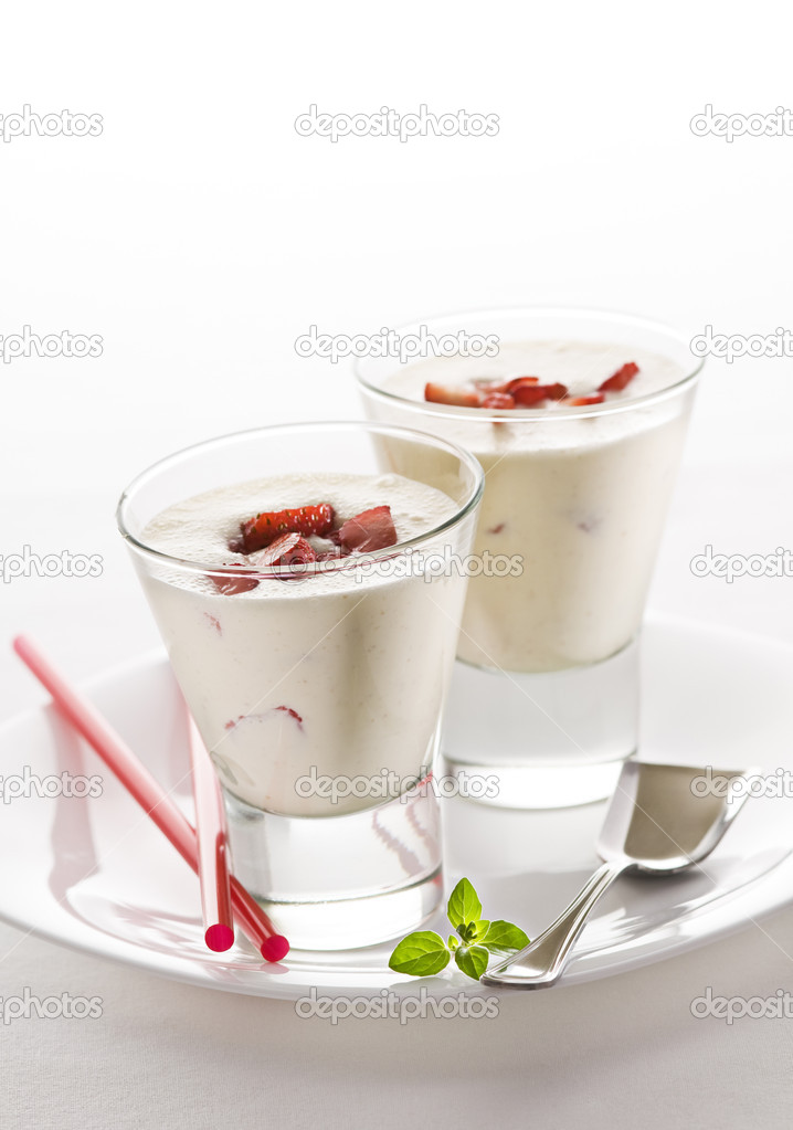 Fresh strawberry milk shakes close up shoot  Stock Photo #9122492