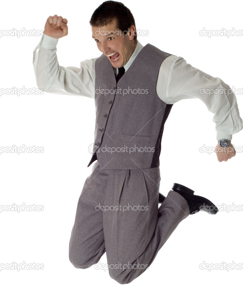Business men jumping on white - success concept  Stock Photo #9157418