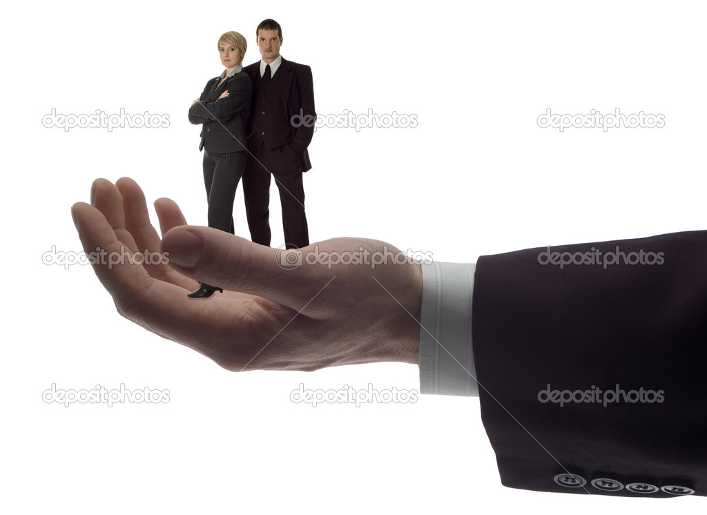 Business men holding  business couple on white — Stock Photo #9157453