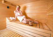 Woman in sauna — Stock Photo