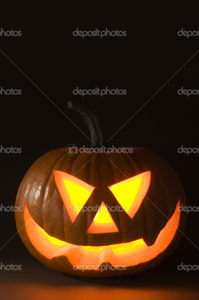 Halloween pumpkin on dark background close up shoot — Photo #9764267
