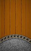 Wooden texture with denim element. — Stock Vector