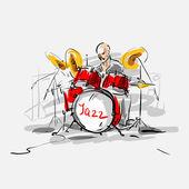 Sketch. Jazz drummer. Vector illustration. — Stock Vector