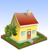 House in the yard with tree and grass. Vector — Vector de stock