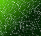 House plan on green background. Vector blueprint — Stock Vector