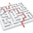 Illustration of successful completed maze with track arrow — Stock Photo #9362308