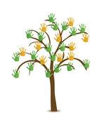 árbol con la mano. vector — Vector de stock
