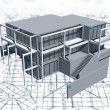 Architecture model house with blueprint. Vector — Stockvectorbeeld