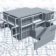 Architecture model house with blueprint. Vector — Vettoriali Stock