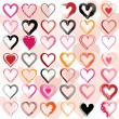 Set of scribble hearts with grungy texture. Vector - Imagens vectoriais em stock