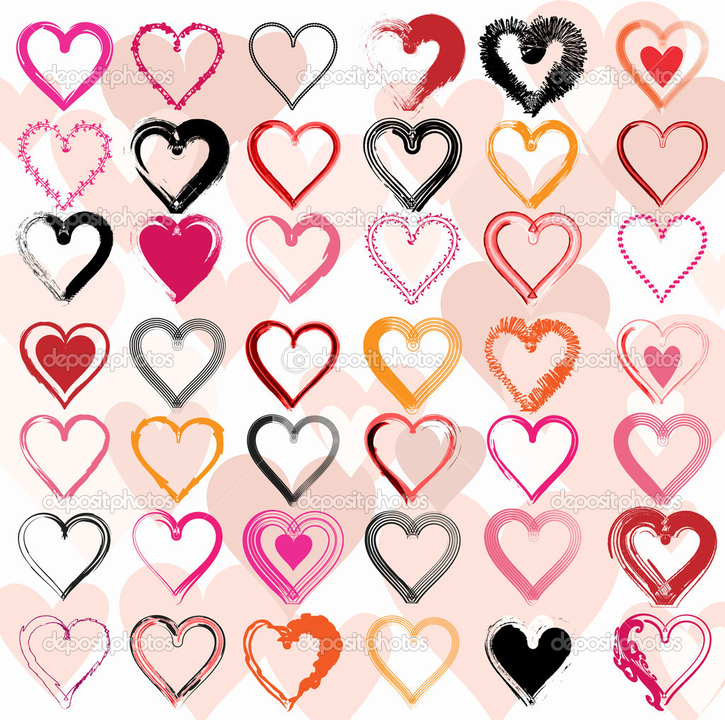 Set of scribble hearts with grungy texture. Vector illustration — Stock Vector #9473877