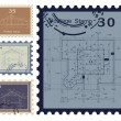 House blueprint stamped. Vector — Stockvectorbeeld