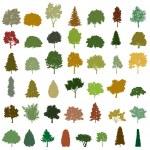 Set of retro silhouette trees. Vector — Stock Vector #9651298