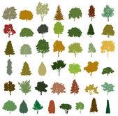 Insieme di alberi silhouette retrò. vector — Vettoriale Stock