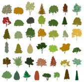 Set of retro silhouette trees. Vector — Stok Vektör