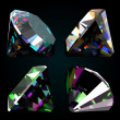 Set of jewelry gems on black background. Vector — Stock Vector
