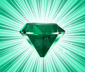 Diamond on a green background. Vector — Stock Vector
