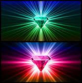 Dos diamantes colores sobre fondos brillantes. vector — Vector de stock