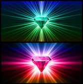 Two Colorful diamonds on bright backgrounds. Vector — Vector de stock