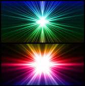 Colorful rays of light. Two vector background — Stock Vector