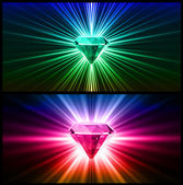 Two Colorful diamonds on bright backgrounds. Vector — Stock Vector
