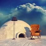 Armchair and igloo — Stock Photo
