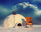 Armchair and igloo — Stockfoto