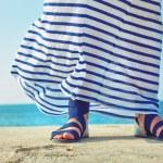 ������, ������: Female feet in billowing dress