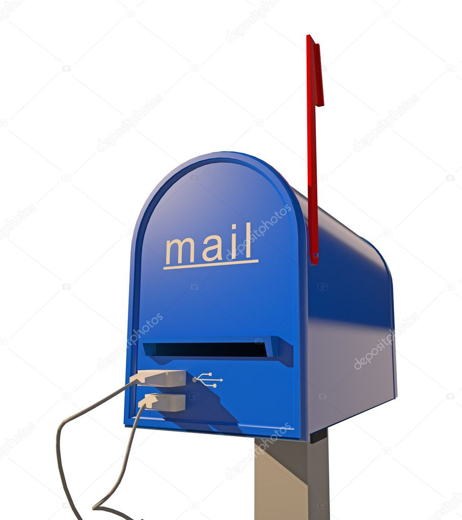 Mailbox with USB port (3D concept) — Stock Photo #8876528
