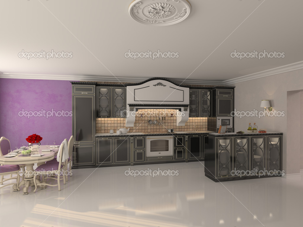 Luxury kitchen interior in classic style (3D rendering) — Stock Photo #9519429