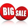 Big sale in red circles — Stock Photo