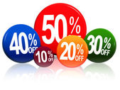 Different percentages in color circles — Stock Photo